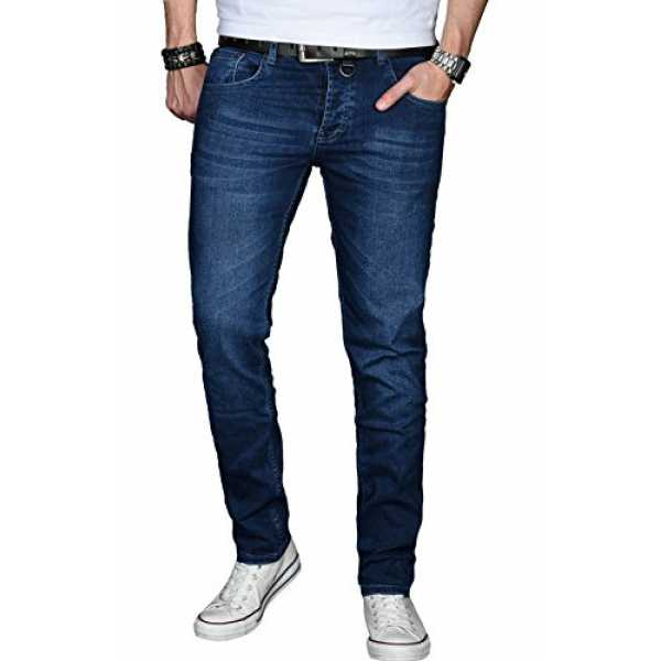 A. Salvarini Designer Herren Jeans Hose Basic Stretch Jeanshose Regular Slim [AS025 - Dunkelblau - W32 L30]