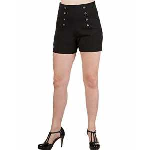Dancing Days by Banned Damen Rockabilly Pin Up Shorts Hohe Taille - Stay Awhile Kurze Hose Schwarz L