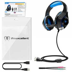 Beexcellent Gaming Headset für PS4 PC Xbox One, LED Licht Crystal Clarity Sound Professional Kopfhörer mit Mikrofon f...