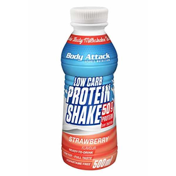 Body Attack Low Carb Protein Shake, 6er Pack (6x 500 ml) (Erdbeere)