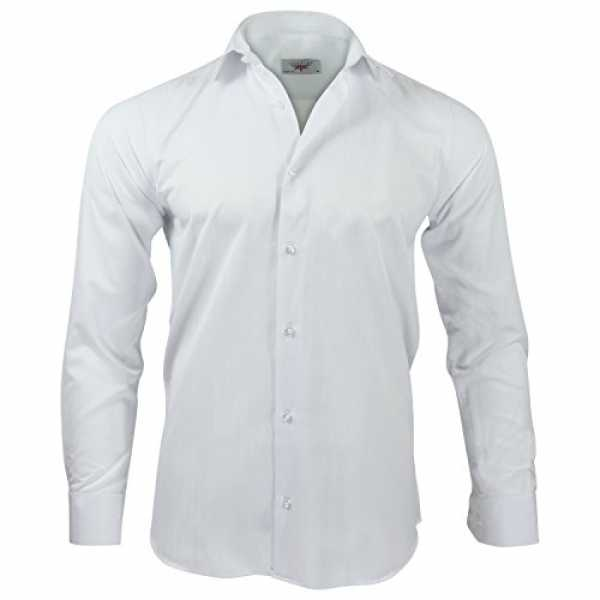 Captain Slim Fit Herren Hemden (in 24 Langarm-Hemd 100% Baumwolle (XL, Weiß)