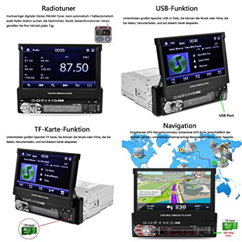 autoradio bluetooth catuo 7 hd 1080p touchscreen m. Black Bedroom Furniture Sets. Home Design Ideas