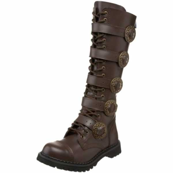 Demonia Gothic Stiefel STEAM-20 - Braun 36 EU