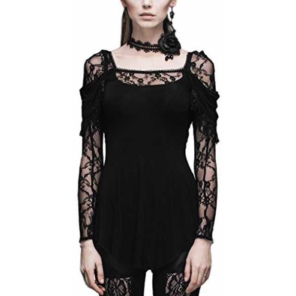 Devil Fashion Tunika festliche Bluse Langarm T-Shirt Visual Kei Gothic Punk Romantic Lolita schwarz (XXL)