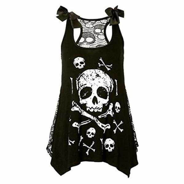 Deylay Gothic Punk Style Skull Print Tank Dress Vest Sleeveless Tank Top Shirt Weiss 3XL