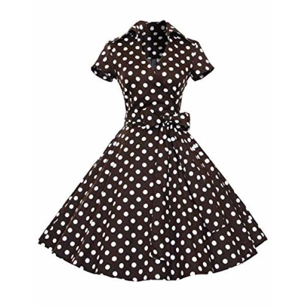 Dresstells Rockabilly Kleid 1950er Retro Polka Dots Kurz Faltenrock Petticoat Cocktailkleid Chocolate Dot L