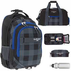 5 Teile MEGA SET: ELEPHANT Trolley HERO SIGNATURE Trolleyrucksack + Sporttasche + Mäppchen + Etui Zipper + Trinkflasche (Plaid Black)