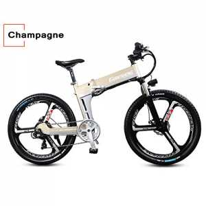 "7 Speed, 48V 10AH, 250W, 26"", Electric Bicycle, Electric Bike, Mountain Bike, Folding E Bike (CHAMPAGNE)"