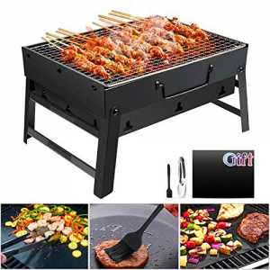 GolWof Holzkohlegrill Faltbare BBQ Grill Holzkohlegrill Edelstahl Portable Outdoor Campinggrill Picknickgrill Tragbar...