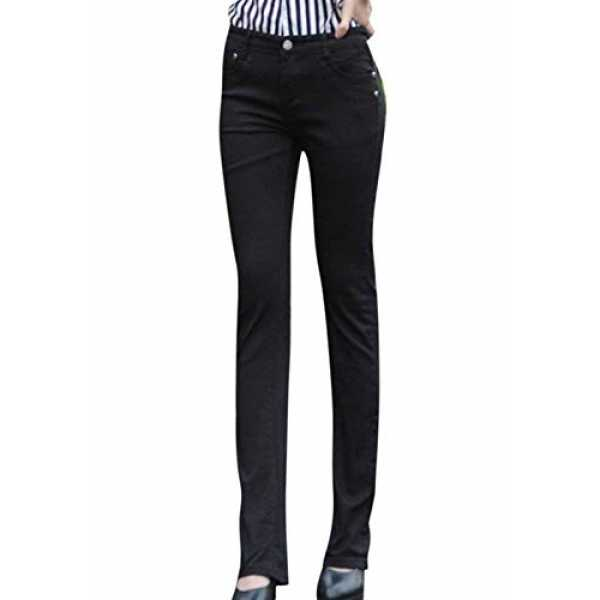 HX fashion Damen Trousers Mode Slim Fit Skinny Jeans Classic Lässig Einfarbig Mikro Schlag