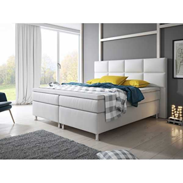 inter boxspringbett lederimitat wei 200 x 180 x 60 c trend 2019. Black Bedroom Furniture Sets. Home Design Ideas