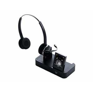 Jabra Pro 9465 Duo professionelles Wireless-DECT-Headset für  Festnetztelefon/Handy/PC-Softphone, Touchscreen-Basis m...