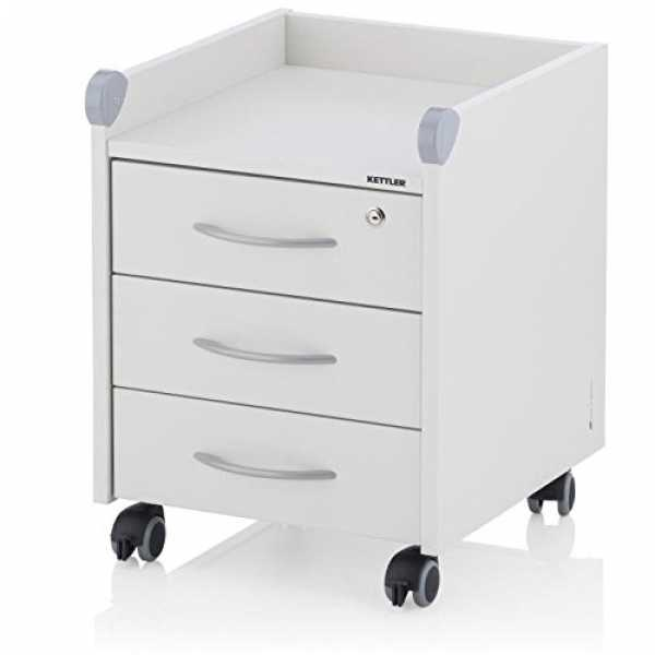Kettler Rollcontainer Roll on Locked, Holz, Weiss, 42 x 54 x 46 cm