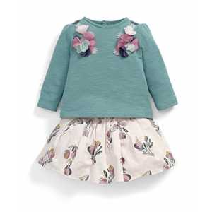 Mamas & Papas Baby-Mädchen Bekleidungsset Tee and Skirt Set, 2er Pack, Multicoloured (Floral), 3-6 Monate