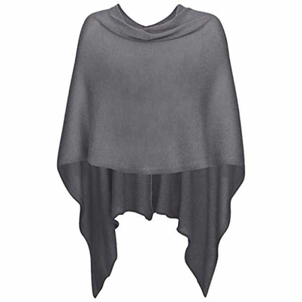 Mississhop 221 Damen Poncho Cape Überwurf Strickjacke feiner weicher Strick Pullover Herbst Winter One Size Graphit