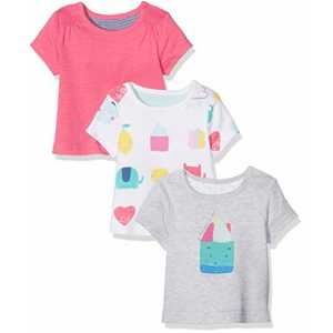 Mothercare Mädchen T-Shirt Happy Home-3 Pack, Multicoloured (Bright Multi), 68
