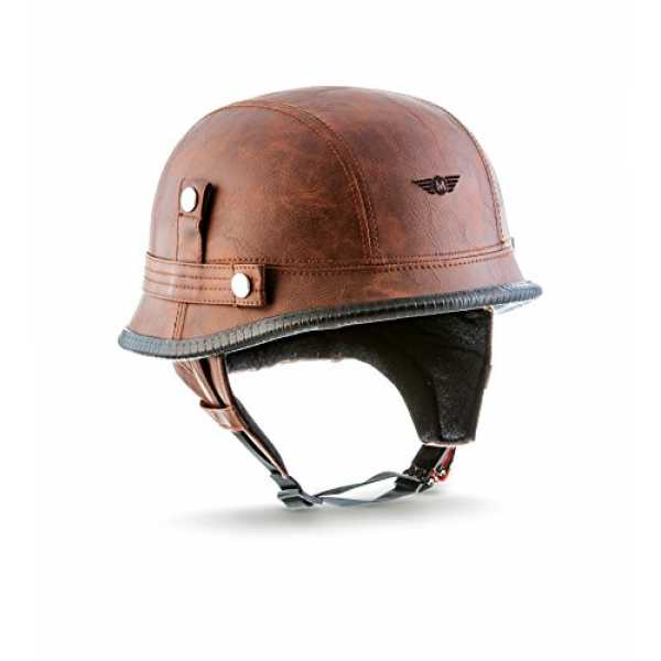 "MOTO  · D33 ""Leather Brown"" (Brown)  · Jet-Helm Braincap Bobber Halbschalen  · Roller Mofa Retro Scooter-Helm Motorra..."