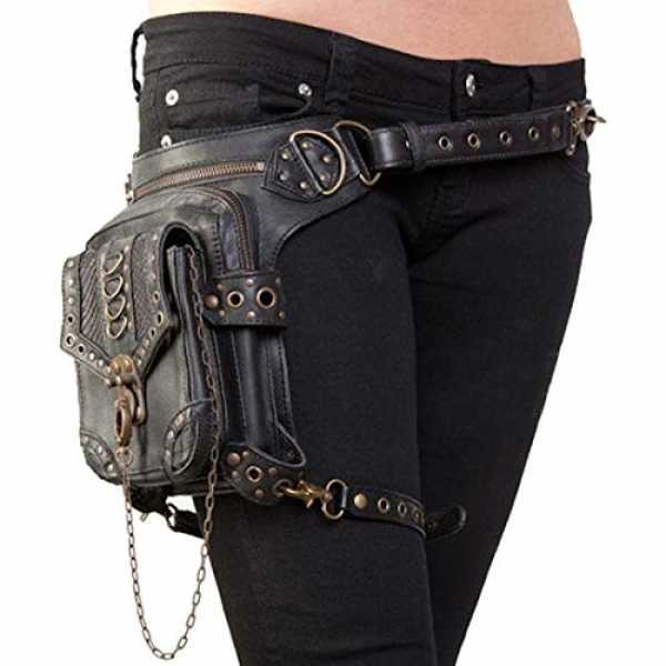 Partiss Unisex Gothic Punk Rave Steampunk Industrial Military Post Apocalyptic Waistbag Tasche Guerteltasche Punk Tasche,One Size,Black