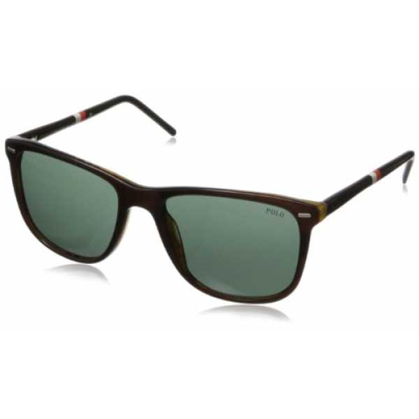 Polo Herren PH 4064 Casual Preppy Wayfarer Sonnenbrille, 503571, Top Brown Havana, Green