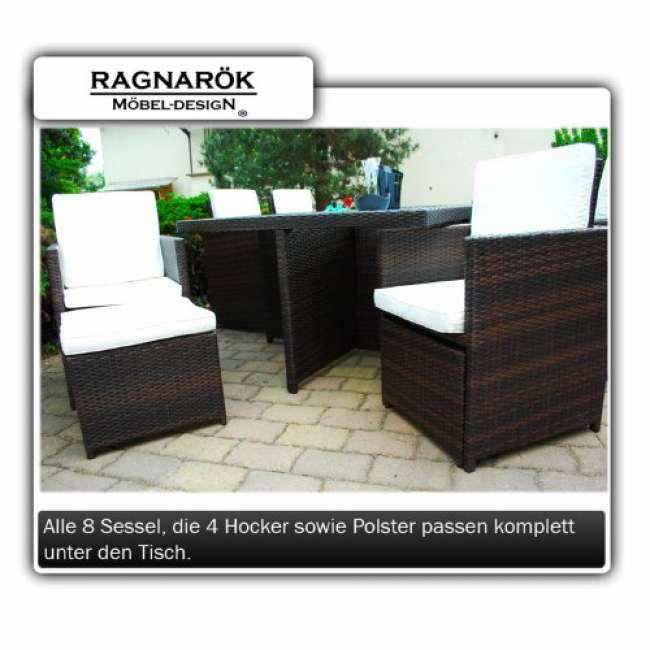 gartenm bel polyrattan essgruppe tisch mit 8 st hlen a trends 2018. Black Bedroom Furniture Sets. Home Design Ideas