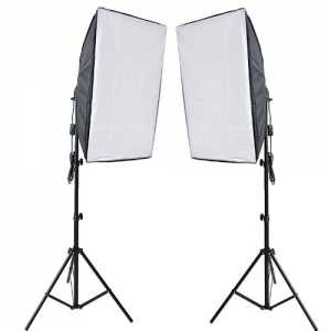 RPGT® Ein Paar 50 x 70 cm Soft Box Set Studioleuchte Softbox Fotolampe with 2m Lampenstativ Tripod