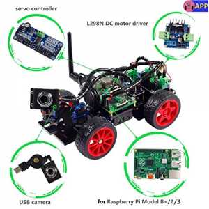 SunFounder Roboterbausatz Smart Video Car Kit Programmierbarer Auto-Roboter for Raspberry Pi with Android App, Compatible with RPi 3, 2 and RPi 1 M...