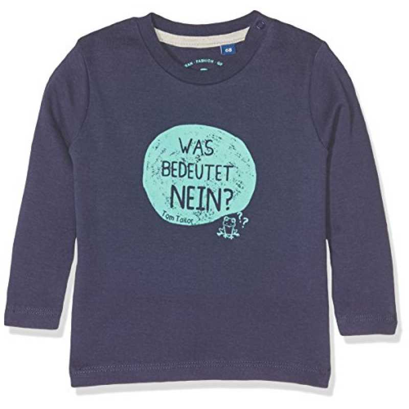 official photos 58b27 ec662 TOM TAILOR Kids Baby-Jungen Langarmshirts Interlock Slogan T-Shirt, Blau  (True Dark Blue 6811), 68
