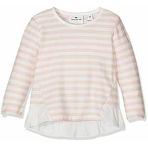 TOM TAILOR Kids Baby-Mädchen Langarmshirt Striped T-Shirt with Fabric Mix, Rosa (Rose Cream 4540), 62