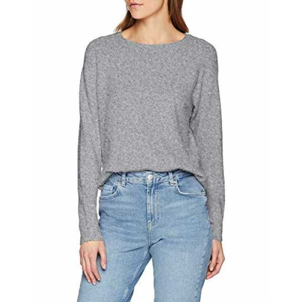 VERO MODA Damen VMDOFFY LS Curve Blouse Color Pullover, Grau (Medium Grey Melange Detail:Melange), 38 (Herstellergröß...