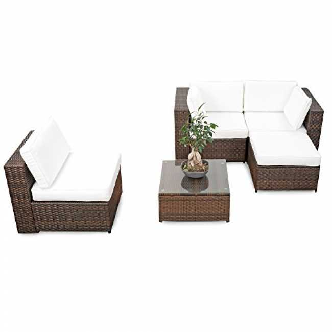 erweiterbares 15tlg balkon polyrattan lounge ecke brau. Black Bedroom Furniture Sets. Home Design Ideas