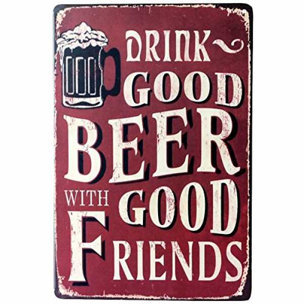 """Blechschild mit Aufschrift """"Everyone needs something to believe in - I believe I'll have another beer"""", Vintage-/Retr..."""